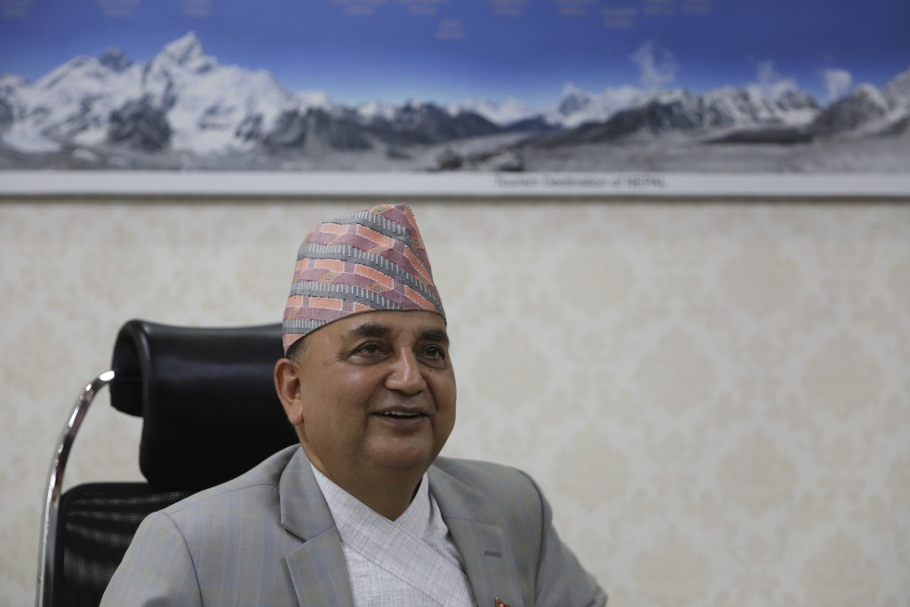 Nepalese Deputy Prime Minister Ishwor Pokhrel speaks with the Associated Press during an interview at Singhadurbar in Kathmandu, Nepal, Thursday, June...