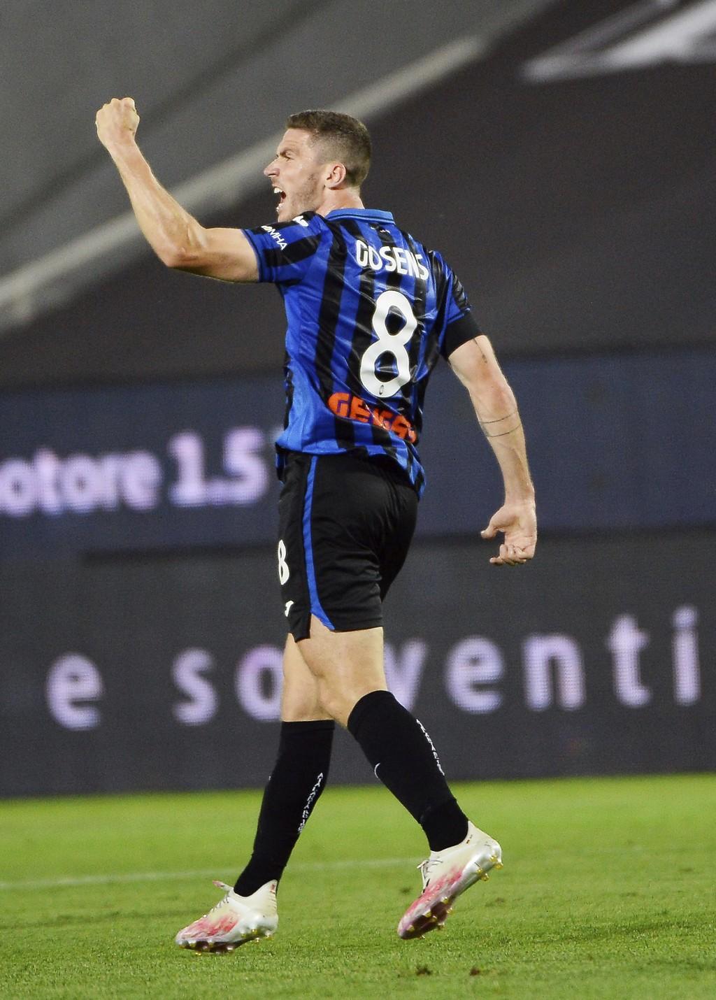 Atalanta's Robin Gosens celebrates after scoring a goal during a Serie A soccer match between Atalanta and Lazio, at the Gewiss Stadium in Bergamo, It...