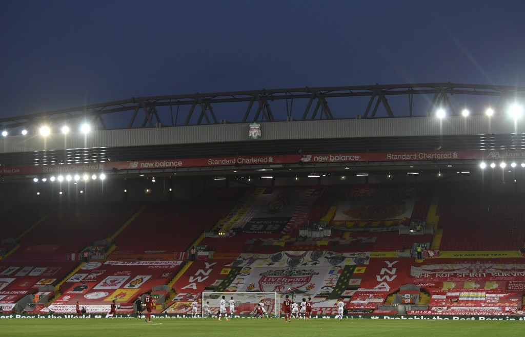 The a view of the empty Kop during the English Premier League soccer match between Liverpool and Crystal Palace at Anfield Stadium in Liverpool, Engla...