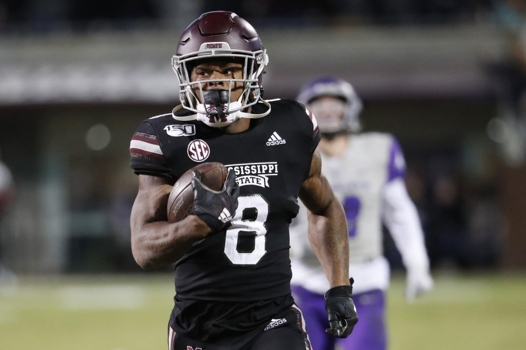 FILE - In this Nov. 23, 2019, file photo, Mississippi State running back Kylin Hill plays against Abilene Christian in an NCAA college football game i...