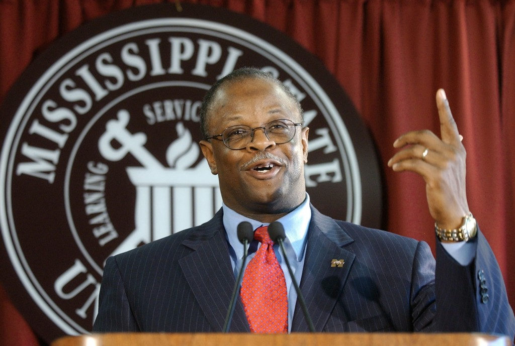FILE - In this Dec. 2, 2003, file photo, newly hired Mississippi State head football coach Sylvester Croom gestures during a press conference in Stark...