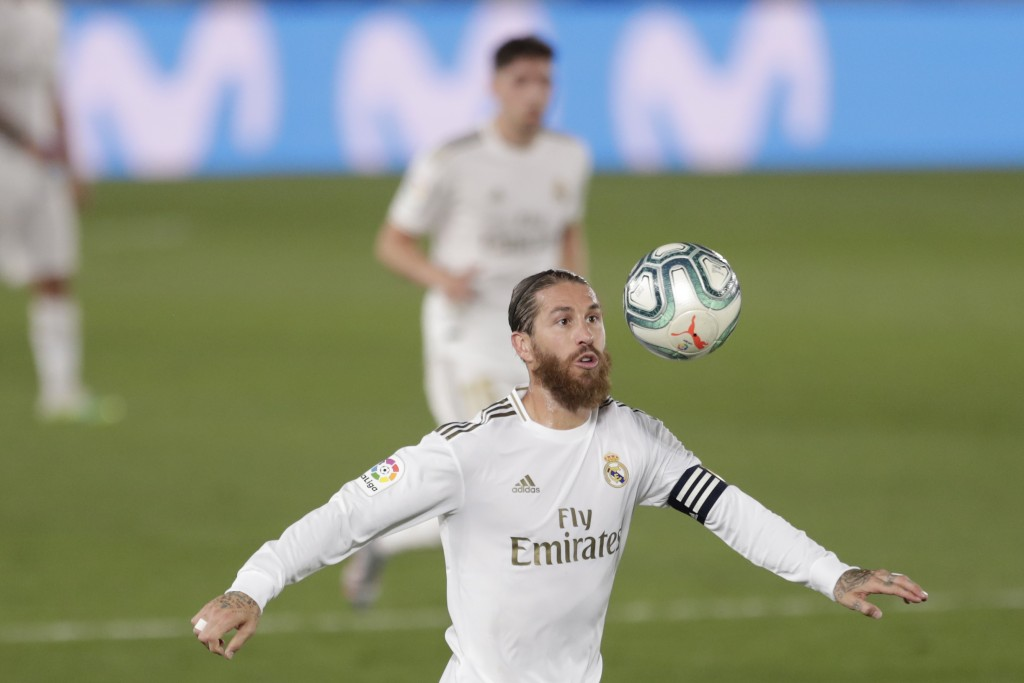 Real Madrid's Sergio Ramos eyes the ball during the Spanish La Liga soccer match between Real Madrid and Mallorca at Alfredo di Stefano stadium in Mad...