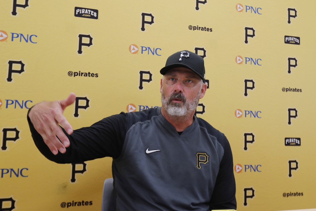 FILE - In this March 12, 2020, file photo, Pittsburgh Pirates manager Derek Shelton addresses the media after a spring training baseball game against ...