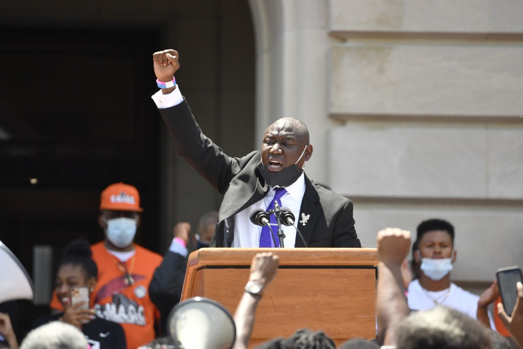 Attorney Benjamin Crump speaks to a gathering on the steps at the Kentucky State Capitol in Frankfort, Ky., Thursday, June 25, 2020. The rally was to ...