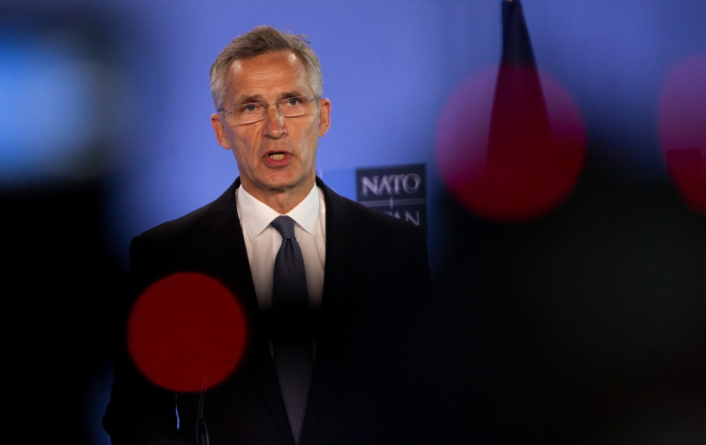 NATO Secretary General Jens Stoltenberg speaks during a joint press conference with U.S. Secretary of Defense Mark Esper at NATO headquarters in Bruss...