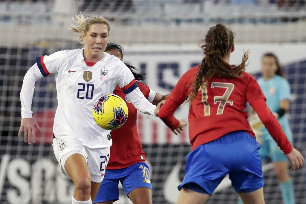 FILE - In this Sunday, Nov. 10, 2019 file photo, U.S. midfielder Allie Long (20) goes after the ball in front of Costa Rica forward Maria Paula Salas ...