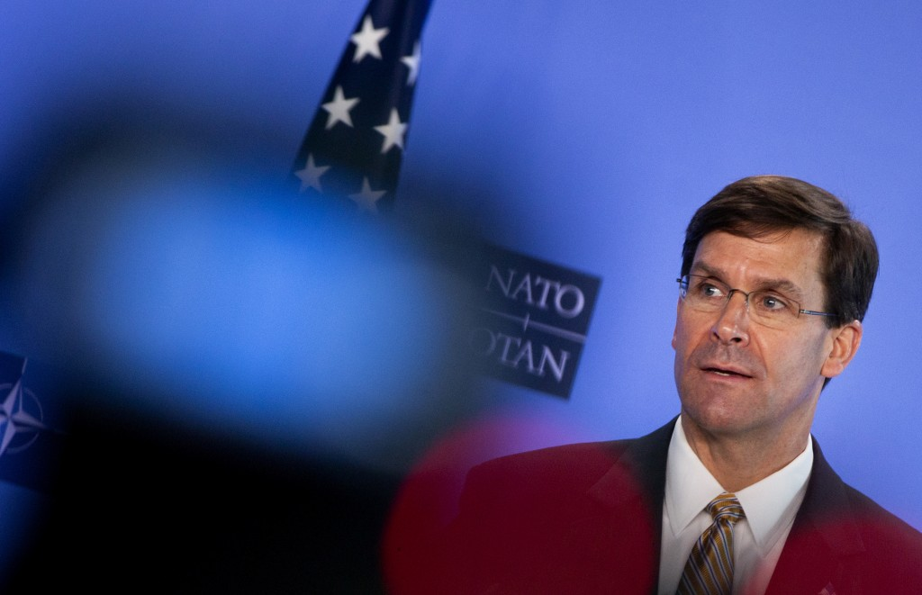 U.S. Secretary of Defense Mark Esper speaks during a joint press conference with NATO Secretary General Jens Stoltenberg at NATO headquarters in Bruss...