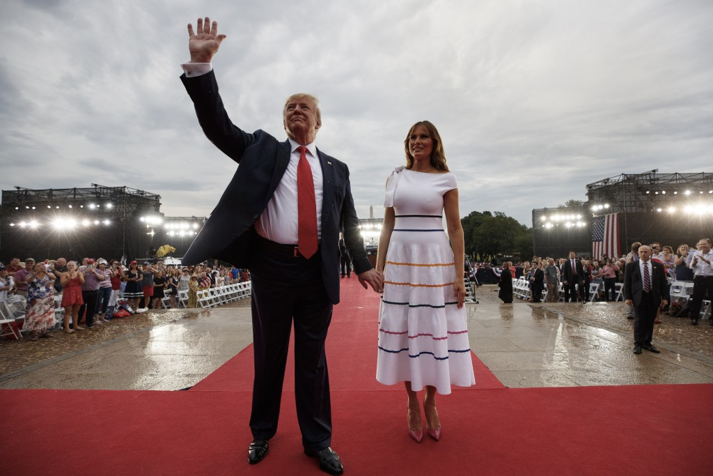 FILE - In this July 4, 2019, file photo President Donald Trump and first lady Melania Trump leave an Independence Day celebration in front of the Linc...