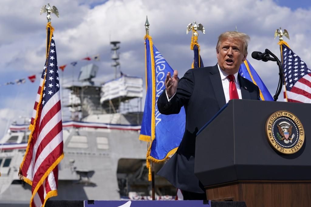 President Donald Trump speaks during a visit to Fincantieri Marinette Marine, Thursday, June 25, 2020, in Marinette, Wis. (AP Photo/Evan Vucci)