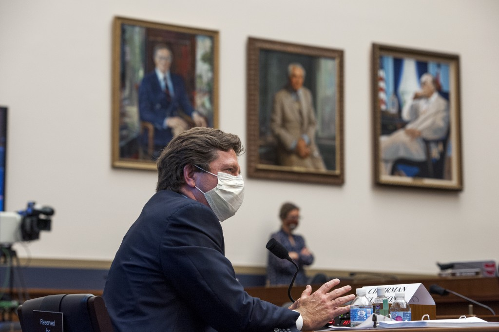 Securities and Exchange Commission (SEC) Chairman Jay Clayton testifies before a House Committee on Financial Services hearing on Financial Services C...