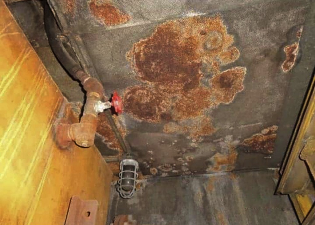 This image provided by I.R. Consilium taken in 2019, shows the internal decay of inside the FSO Safer and the lack of a functioning cathodic protectio...