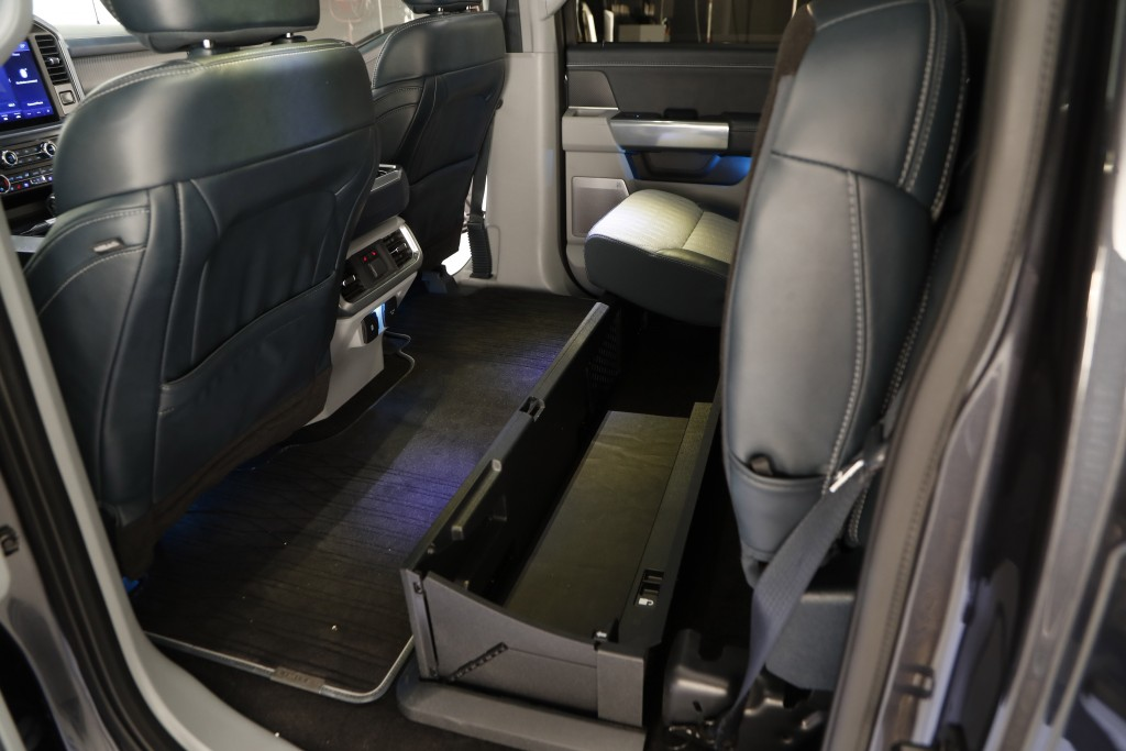 In a photo from, Wednesday, June 24, 2020, the rear seating on new 2021 Ford F-150 truck is photographed in Ferndale, Mich. Six years ago, Ford bet bi...