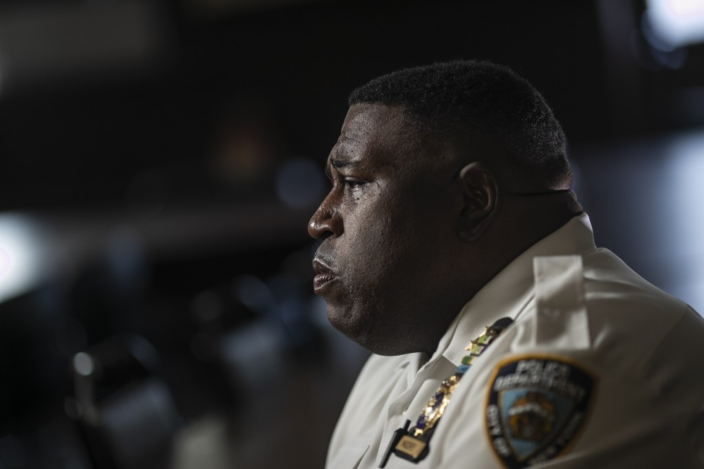 FILE - In this June 11, 2020, file photo Assistant Chief Jeff Maddrey, is photographed outside the Brooklyn North Patrol Borough in the Brooklyn borou...