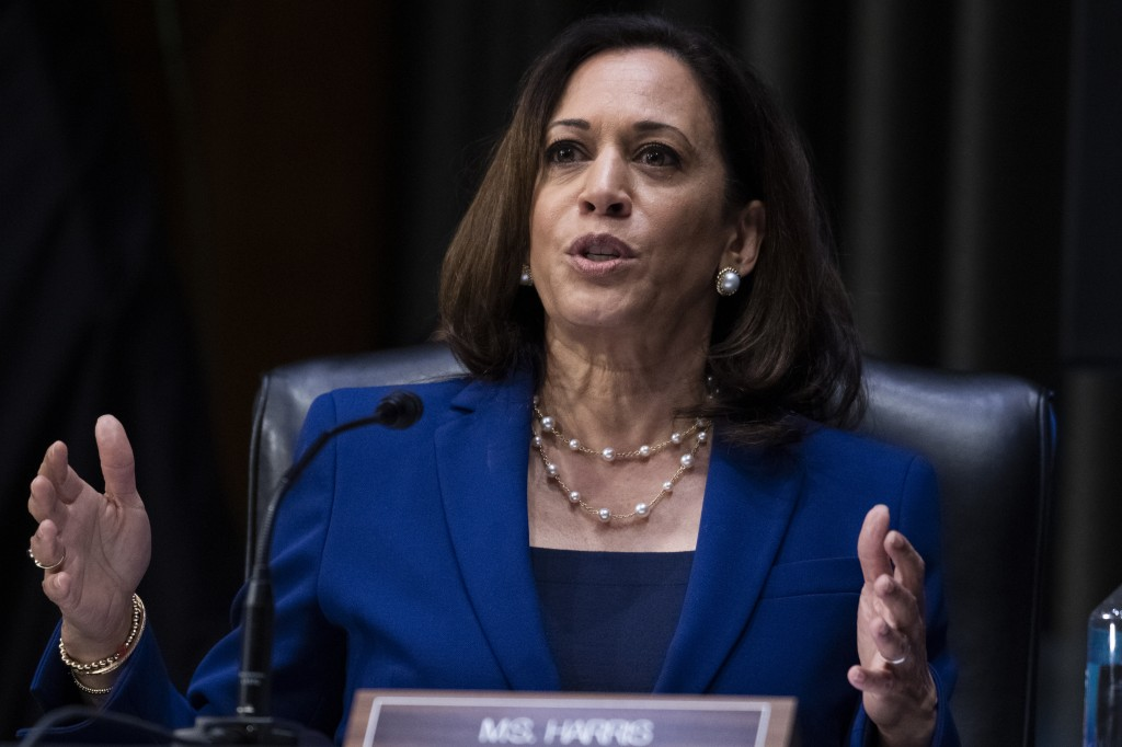 In this June 16, 2020, photo, Sen. Kamala Harris, D-Calif., asks a question during a Senate Judiciary Committee hearing on police use of force and com...