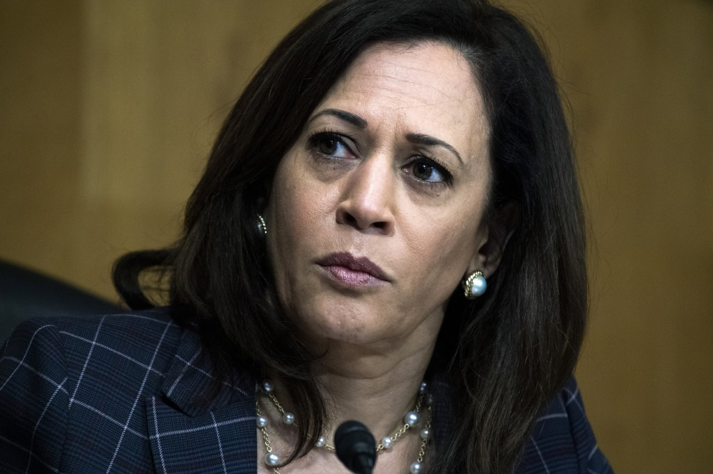 In this June 25, 2020, photo, Sen. Kamala Harris, D-Calif., attends a Senate Homeland Security and Governmental Affairs Committee hearing on Capitol H...