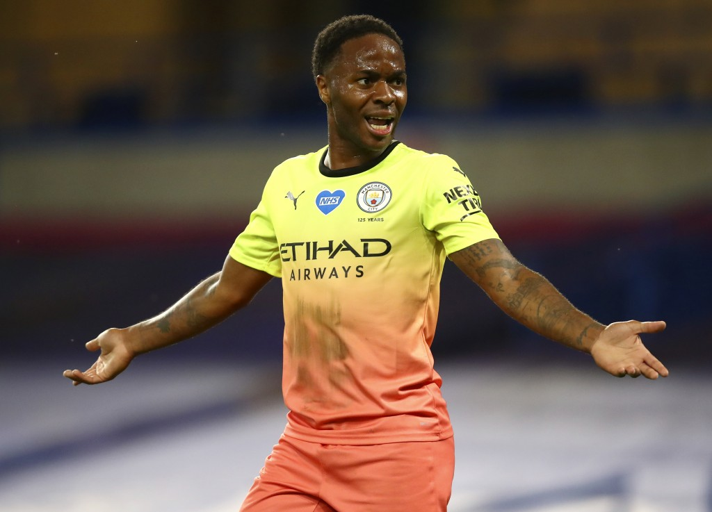 Manchester City's Raheem Sterling gestures during the English Premier League soccer match between Chelsea and Manchester City at Stamford Bridge, in L...