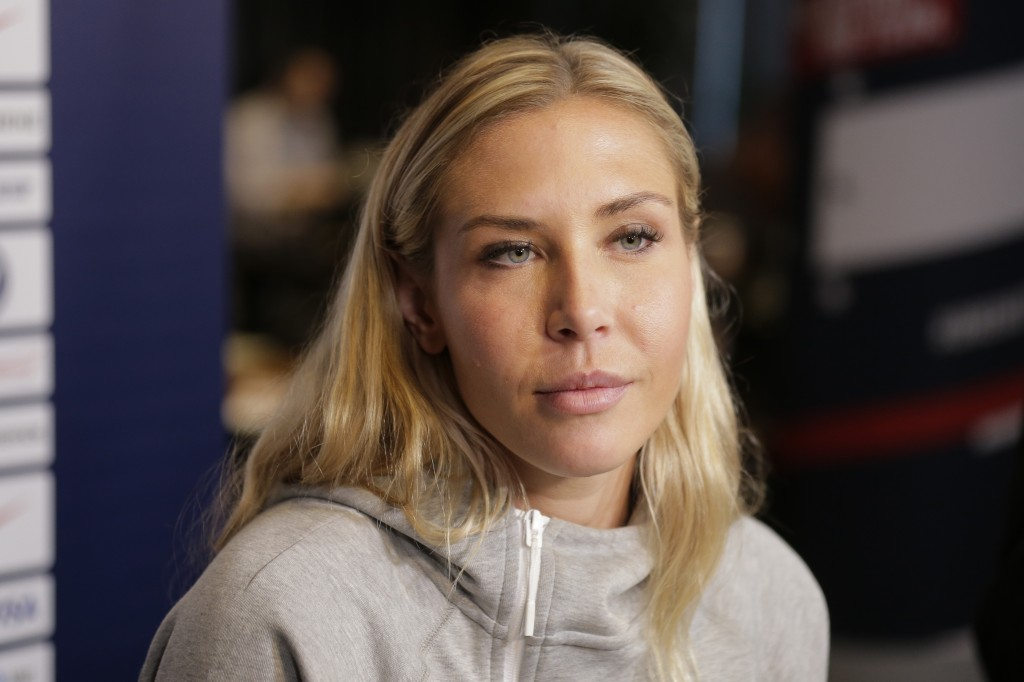 FILE - In this  Friday, May 24, 2019 file photo, Allie Long, a member of the United States women's national soccer team, speaks to reporters during a ...