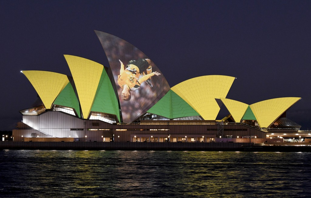 The Sydney Opera House is illuminated in support of Australia and New Zealand's joint bid to host the FIFA Women's World Cup 2023, in Sydney, Thursday...