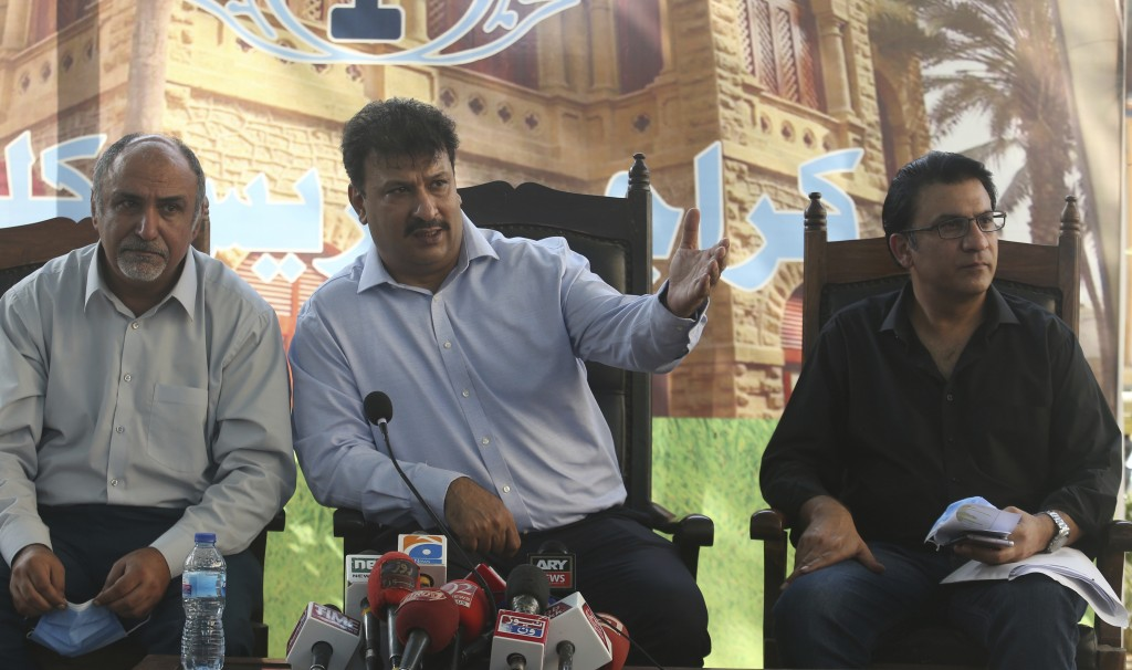 Captain Chaudhry Salman, center, President of Pakistan Airlines Pilots' Association addresses a news conference with others in Karachi, Pakistan, Satu...