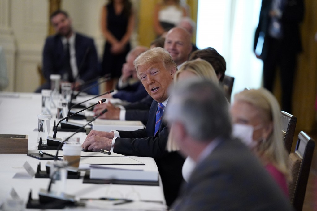 President Donald Trump speaks during a meeting with the American Workforce Policy Advisory Board, in the East Room of the White House, Friday, June 26...