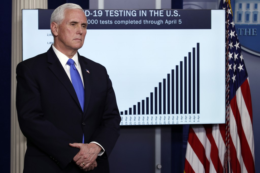 FILE - In this Monday, April 6, 2020, file photo, Vice President Mike Pence listens as President Donald Trump speaks about the coronavirus at the Whit...