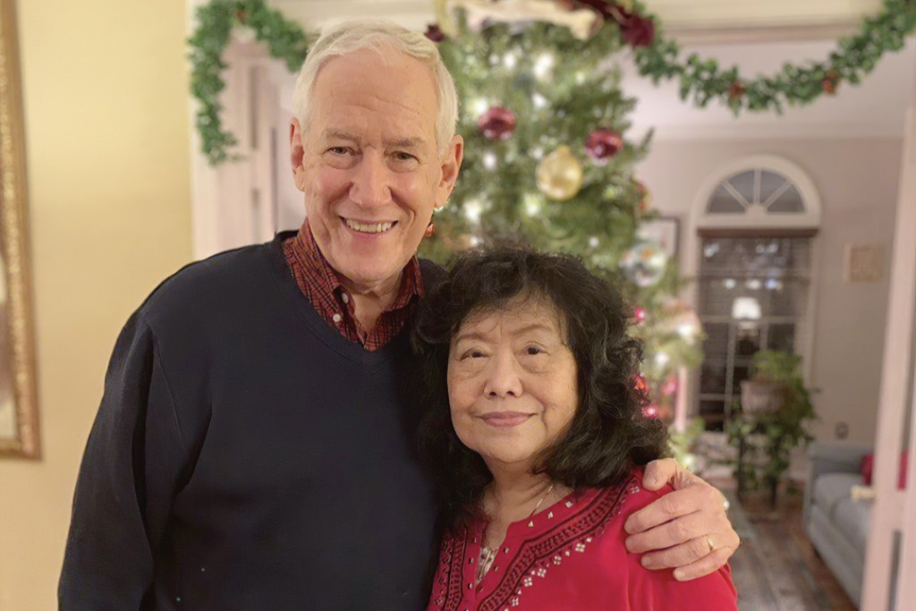 In this December, 2018 photo released by the Stemberger family, Victor and his wife Han Stemberger, are shown at their home in Centreville, Va. Victor...
