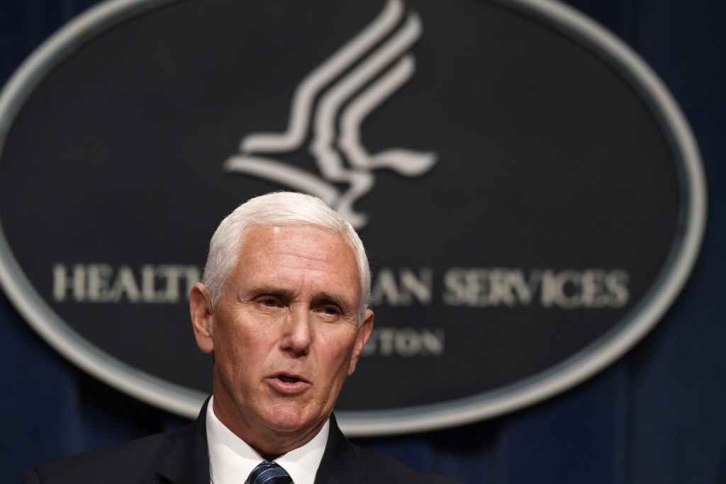 Vice President Mike Pence speaks during a news conference with the Coronavirus task force at the Department of Health and Human Services in Washington...
