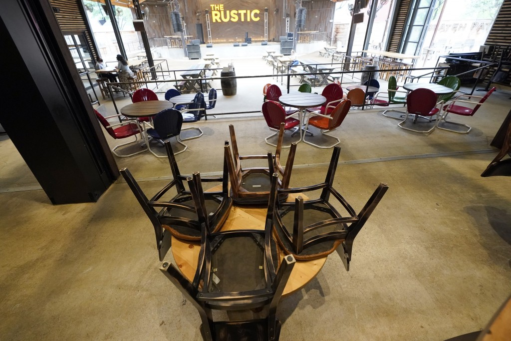 Chairs are stacked on a table inside The Rustic, Friday, June 26, 2020, in Houston. The restaurant and bar will be limited to 50% capacity after Texas...