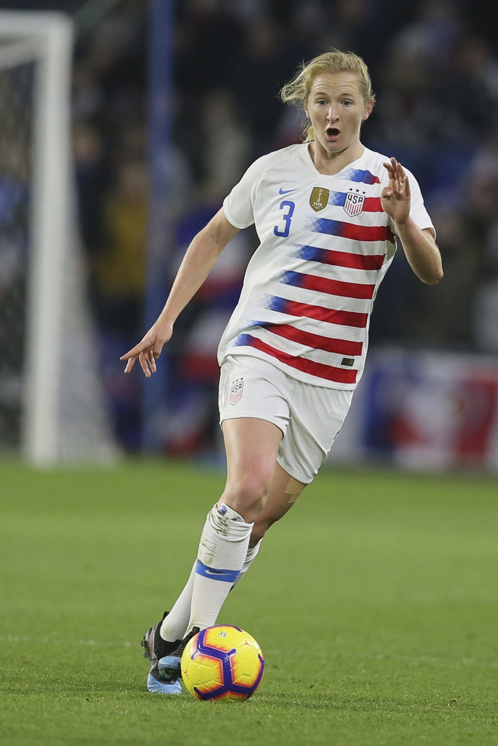 FILE - In this Jan. 19, 2019, file photo, United States midfielder Samantha Mewis, who plays for the North Carolina Courage of the National Women's So...