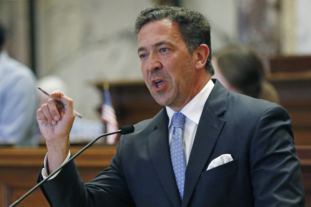 Sen. Chris McDaniel, R-Ellisville, urges his colleagues to vote against a resolution that would allow lawmakers to change the state flag Saturday, Jun...