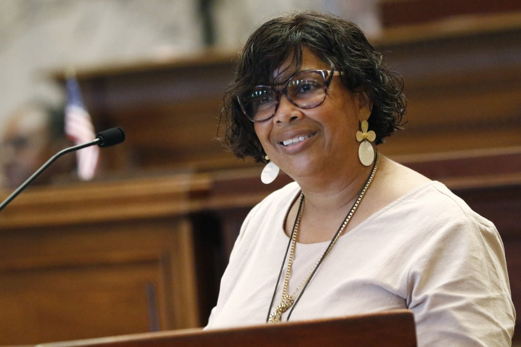 Democratic Sen. Barbara Blackmon, of Canton, speaks in support of a resolution that would allow lawmakers to change the state flag, Saturday, June 27,...