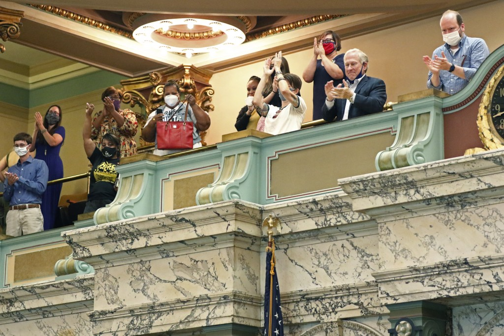 The gallery of the Mississippi Senate rise and applaud after the body passed a resolution that would allow lawmakers to change the state flag Saturday...