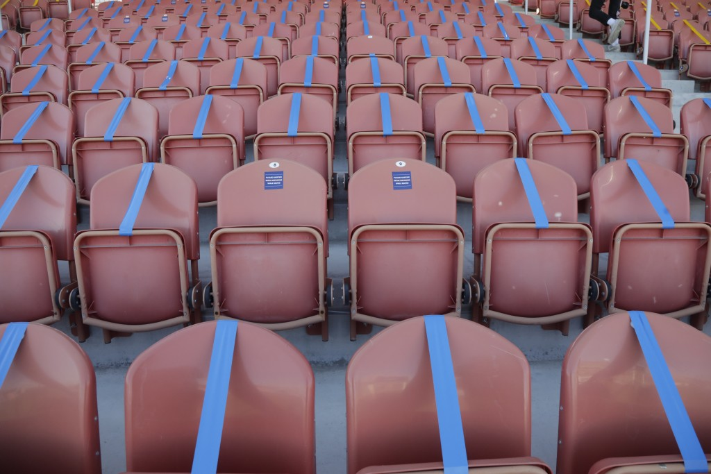 Seating is taped off to meet social distancing needs before the start of the NWSL Challenge Cup soccer match between the Portland Thorns FC and the No...