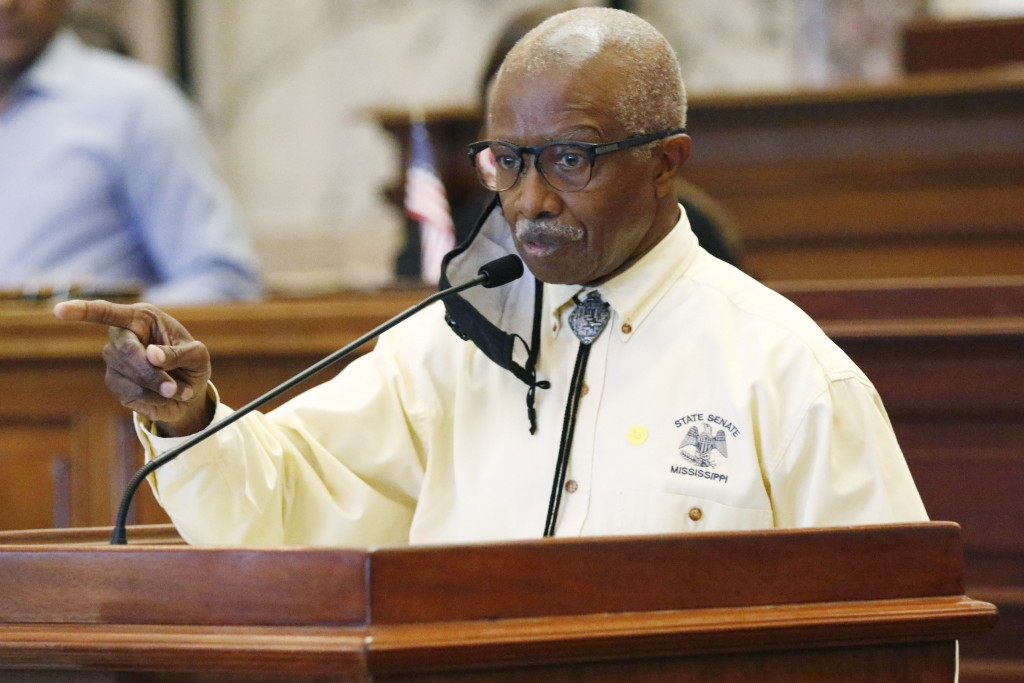 Democratic Sen. Hillman Frazier, of Jackson, speaks in support of a resolution that would allow lawmakers to change the state flag, Saturday, June 27,...
