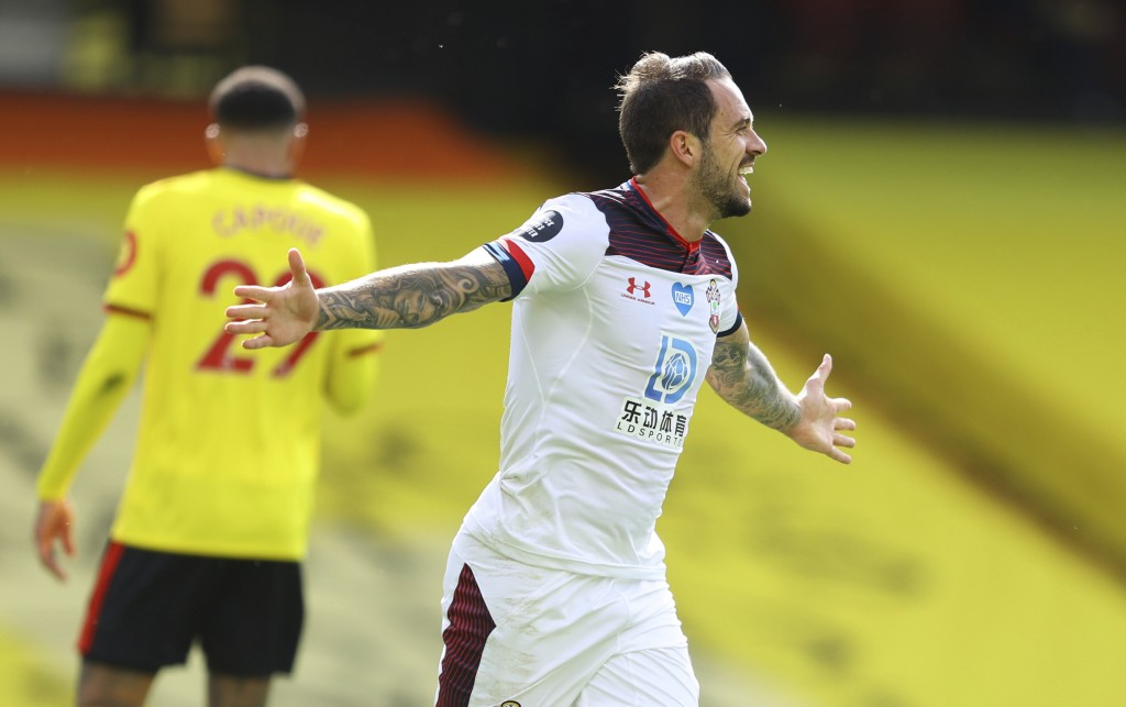 Southampton's Danny Ings celebrates after scoring the opening goal of the game during the English Premier League soccer match between Watford and Sout...