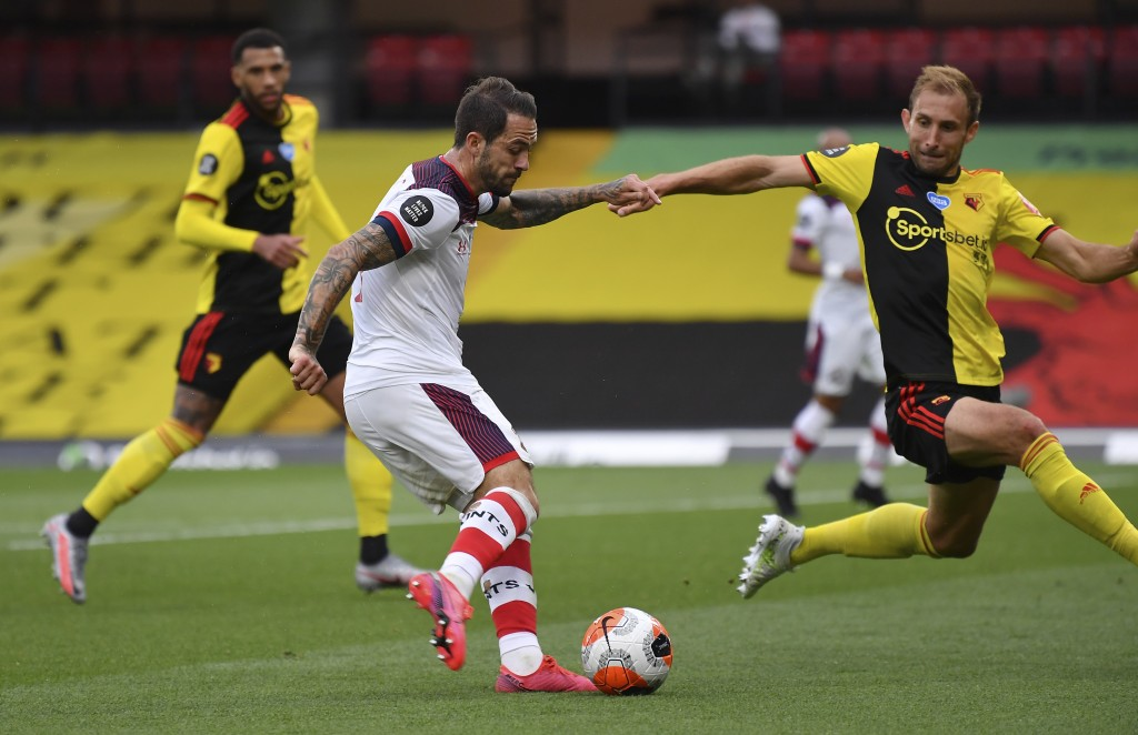 Southampton's Danny Ings shoots and scores his second goal of the game during the English Premier League soccer match between Watford and Southampton ...