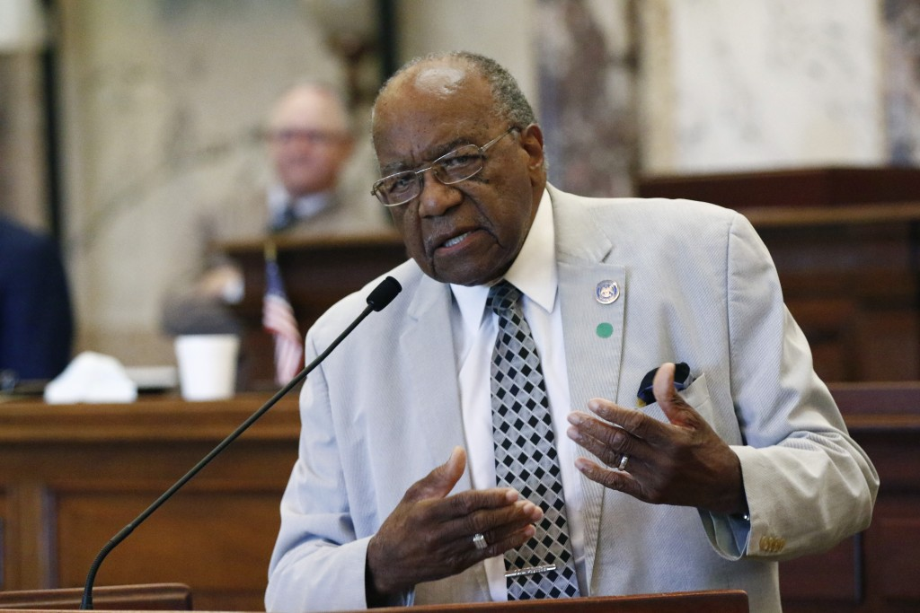 Sen. David Jordan, D-Greenwood, speaks for legislation that would change Mississippi's state flag Sunday, June 28, 2020 at the Capitol in Jackson, Mis...
