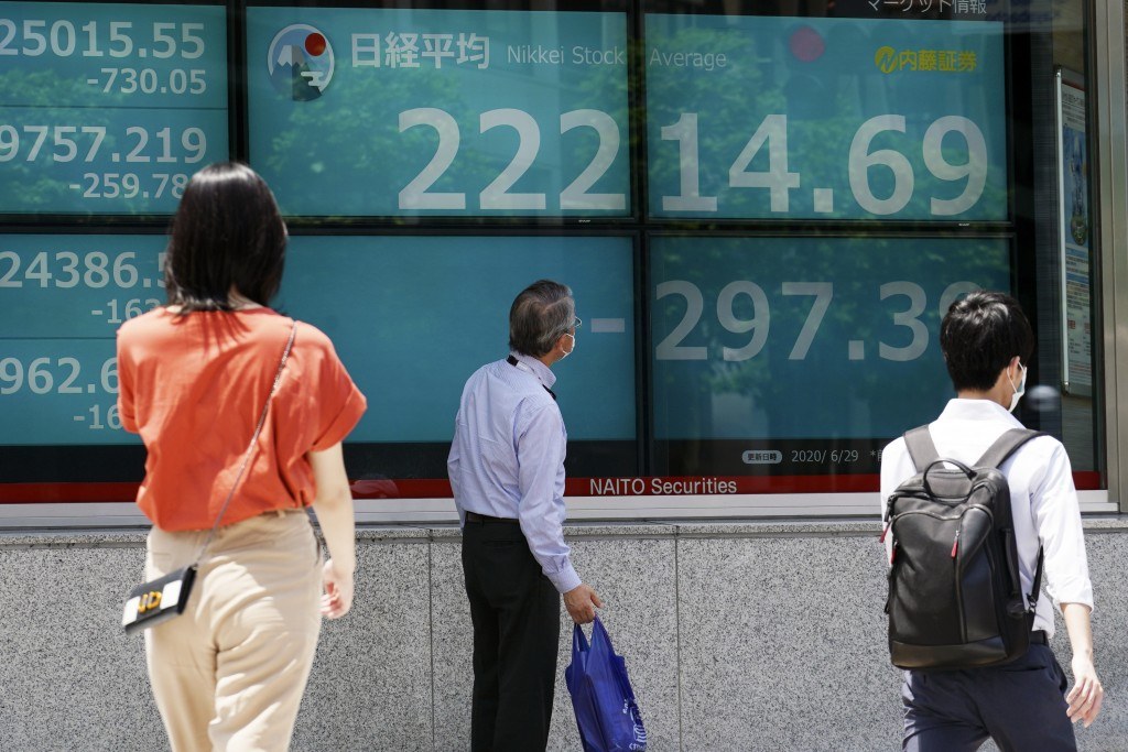 A man looks at an electronic stock board showing Japan's Nikkei 225 index at a securities firm in Tokyo Monday, June 29, 2020. Shares fell Monday in A...