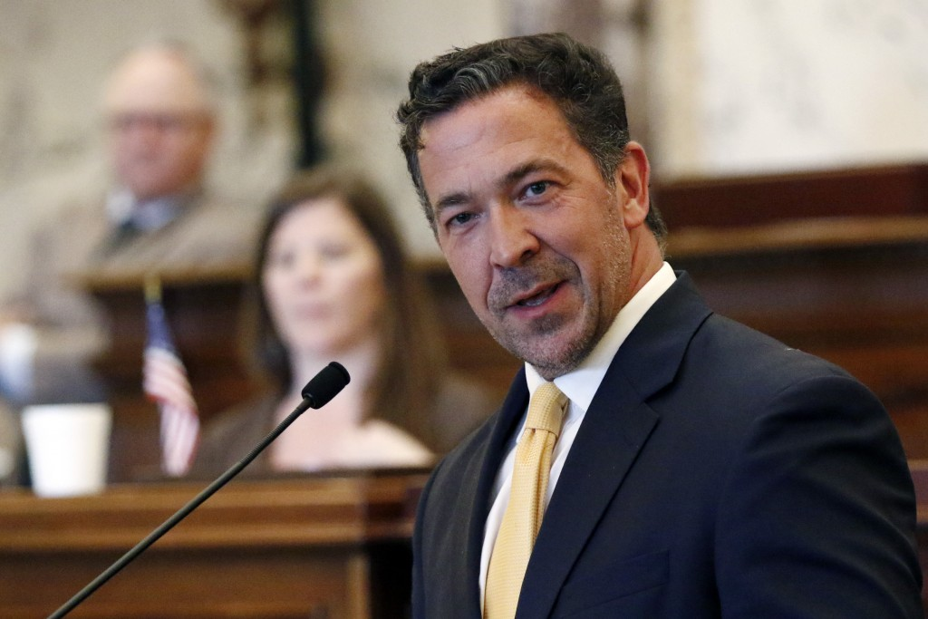 Sen. Chris McDaniel, R-Ellisville, speaks against a bill to change the state flag, Sunday, June 28, 2020, at the Capitol in Jackson, Miss. Lawmakers i...