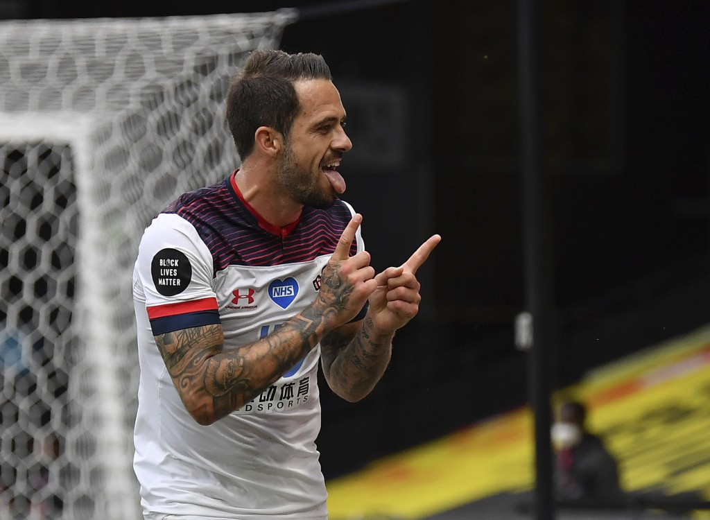 Southampton's Danny Ings celebrates after scoring his second goal of the game during the English Premier League soccer match between Watford and South...