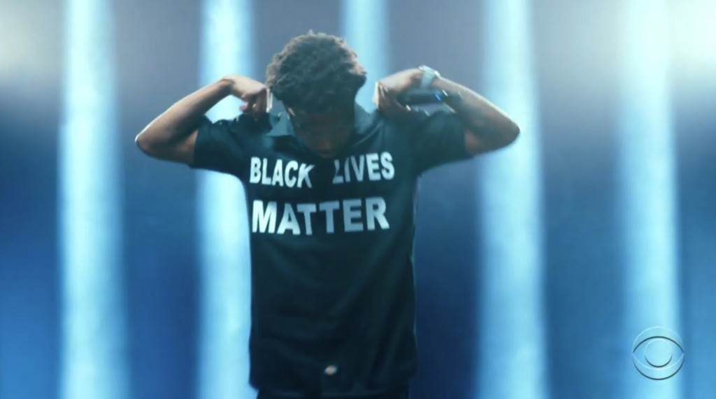 In this video grab issued Sunday, June 28, 2020, by BET, Roddy Ricch wears a shirt that says Black Lives Matter while performing during the BET Awards...