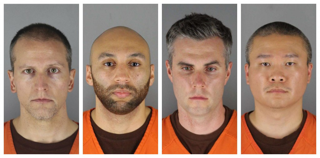 This combination of photos provided by the Hennepin County Sheriff's Office in Minnesota on Wednesday, June 3, 2020, shows Derek Chauvin, from left, J...