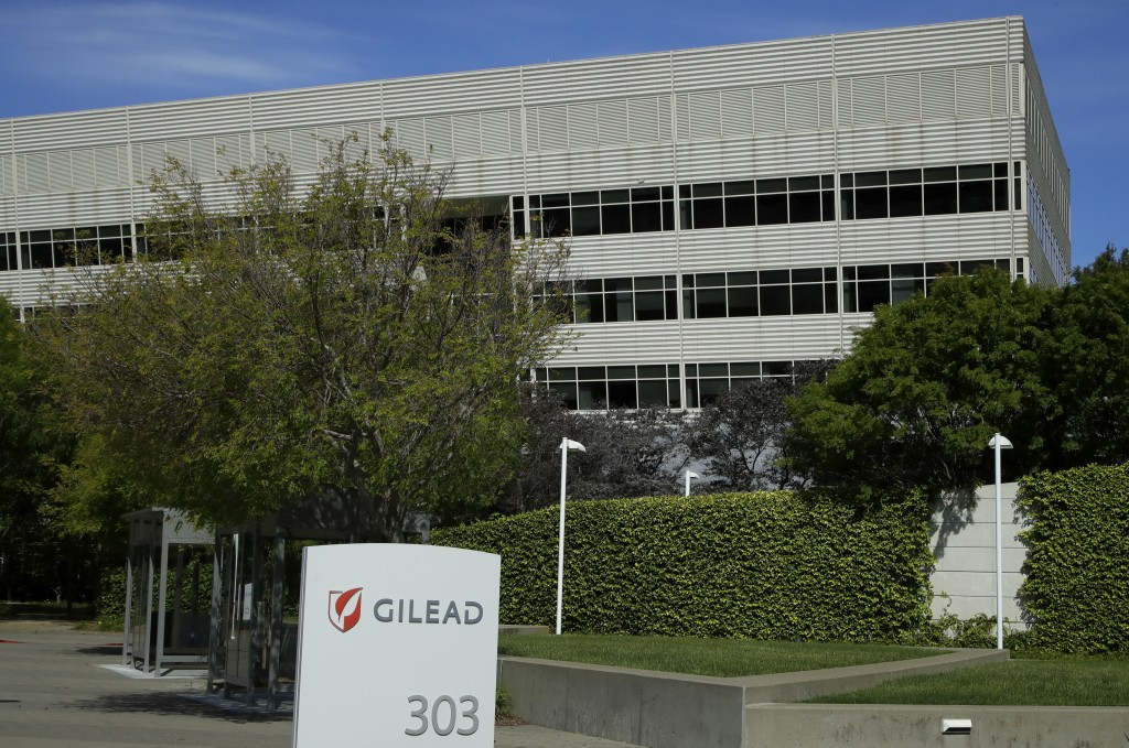 FILE - This is an April 30, 2020, file photo showing Gilead Sciences headquarters in Foster City, Calif. The maker of a drug shown to shorten recovery...
