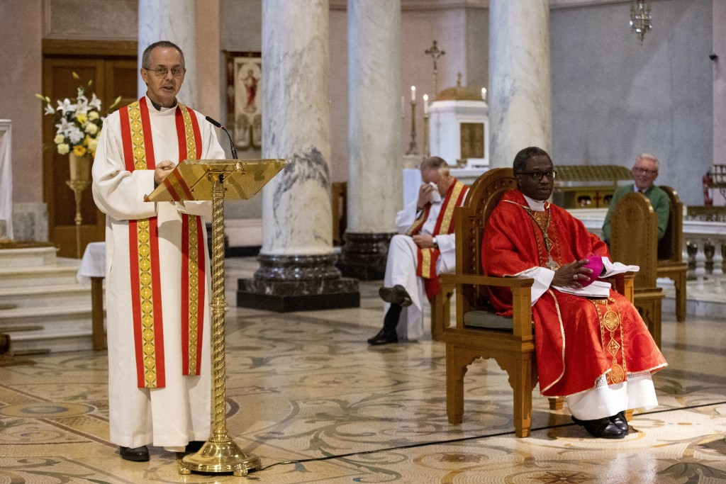 Bishop-elect Martin Hayes, left, addressing parishioners alongside Archbishop Jude Thaddeus Okolo, Apostolic Nuncio to Ireland, during Martin Hayes' a...