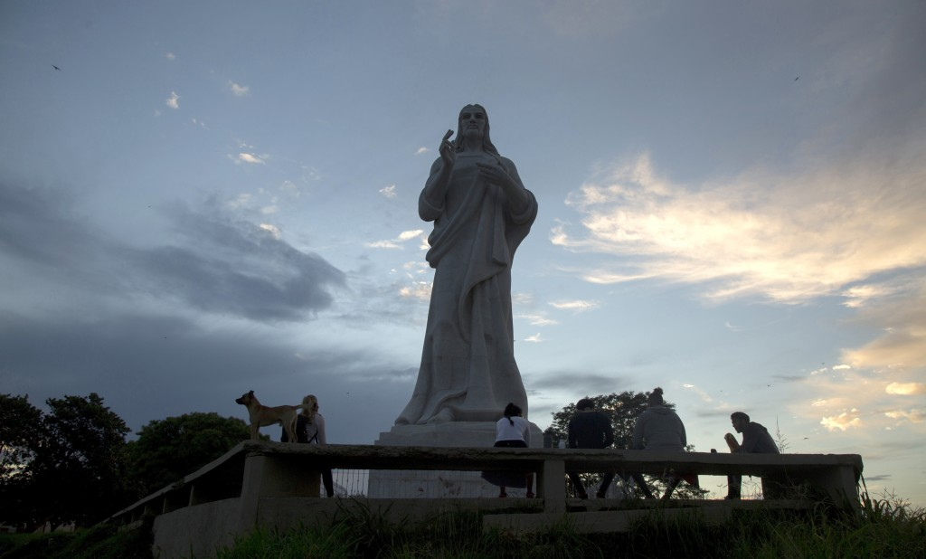 A Christ statue stands without tourists milling about, amid a lockdown affecting tourism to curb the spread of the COVID-19 pandemic in Havana, Cuba, ...
