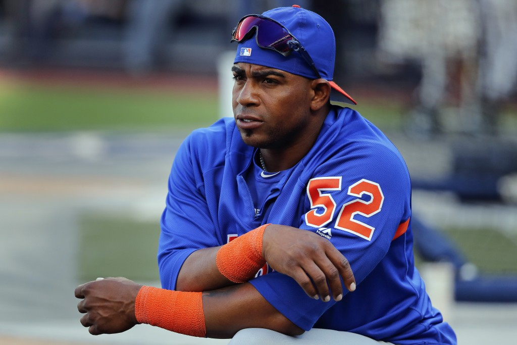 FILE - In this July 20, 2018, file photo, New York Mets' Yoenis Cespedes stretches before a baseball game against the New York Yankees in New York. Wh...