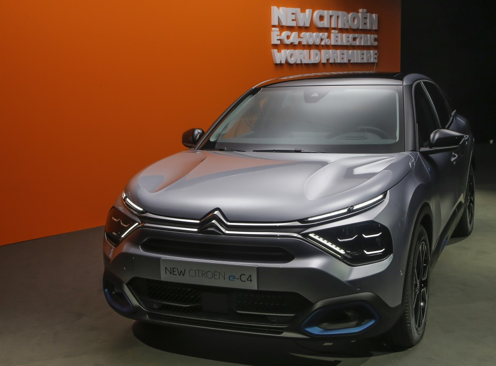 The Citroen e-C4 all electric hatchback is display during a media presentation in Paris, Tuesday, June 30, 2020. PSA Group's Citroen Brand is showing ...