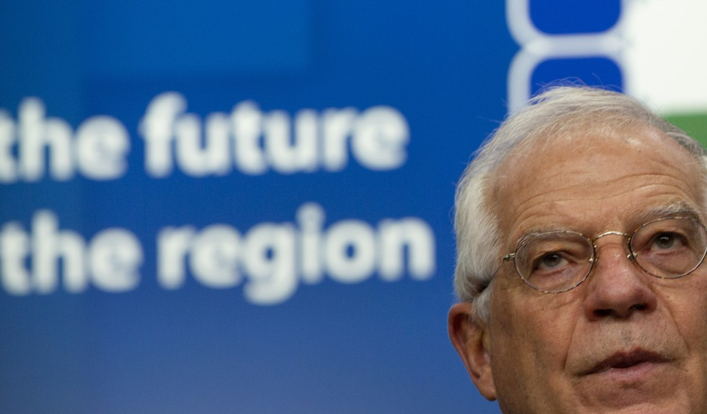 European Union foreign policy chief Josep Borrell speaks during a media conference after a meeting, Supporting the future of Syria and the Region, in ...