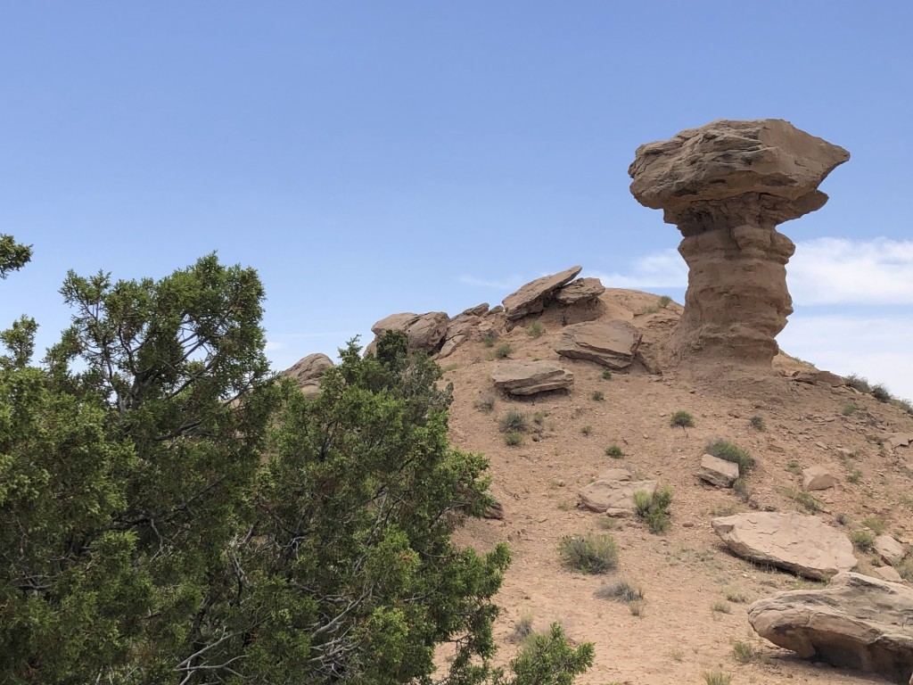 Camel Rock, a sandstone formation the shape of a camel, sits at the entrance of Tesuque Pueblo, N.M. on Thursday, June 25, 2020. The Native American t...