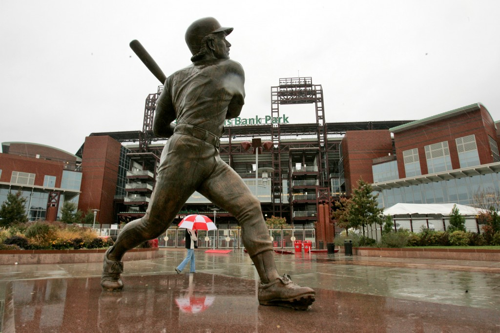 FILE - In this Oct. 28, 2008, file photo, a statue of Philadelphia Phillies Hall of Fame third baseman Mike Schmidt stands outside Citizens Bank Park ...